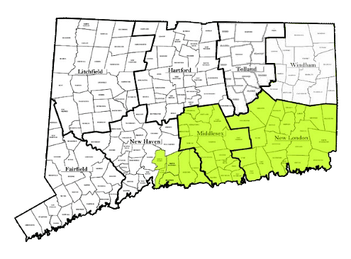 Map of Connecticut showing areas of service