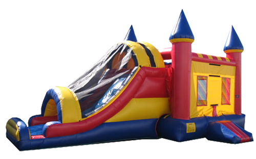Combination Bounce-house slide wih a net